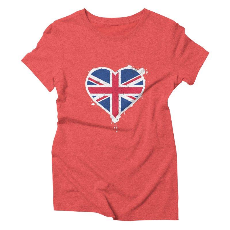 Union Jack Flag Heart Women's Triblend T-Shirt by zoljo's Artist Shop