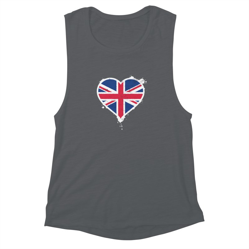 Union Jack Flag Heart Women's Muscle Tank by zoljo's Artist Shop