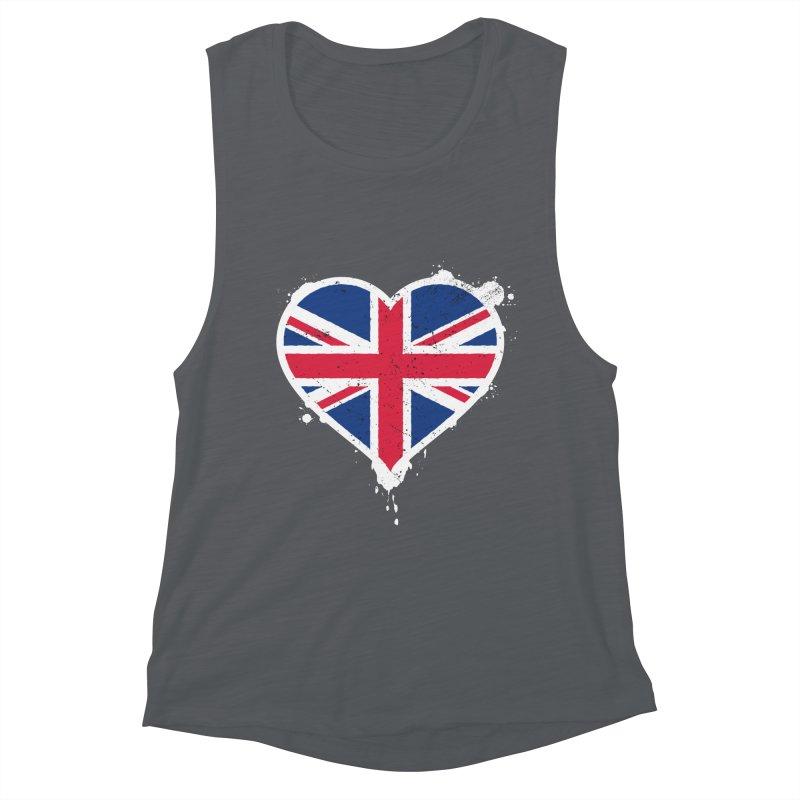 Union Jack Flag Heart Women's Muscle Tank by zoljo's Artist Shop