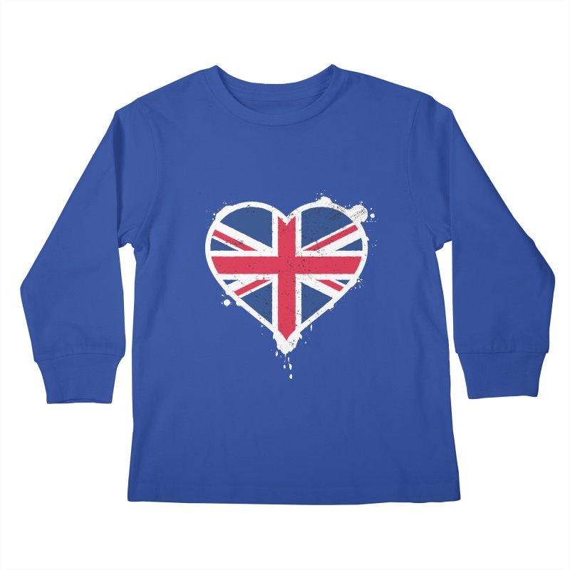 Union Jack Flag Heart Kids Longsleeve T-Shirt by zoljo's Artist Shop