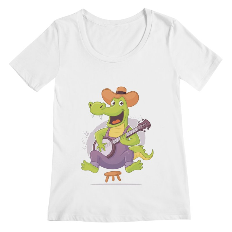 Bluegrass Alligator Women's Regular Scoop Neck by zoljo's Artist Shop