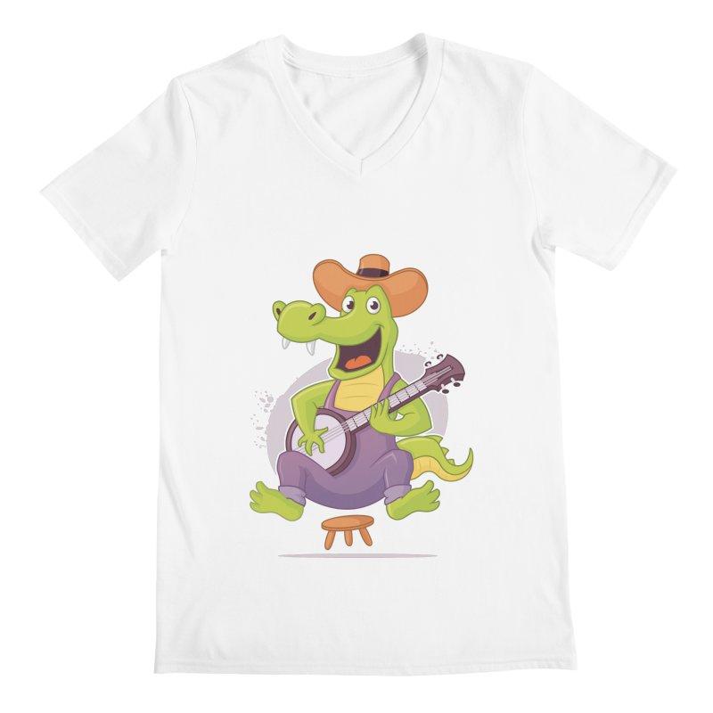 Bluegrass Alligator Men's Regular V-Neck by zoljo's Artist Shop