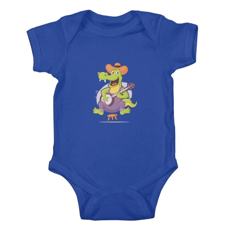 Bluegrass Alligator Kids Baby Bodysuit by zoljo's Artist Shop