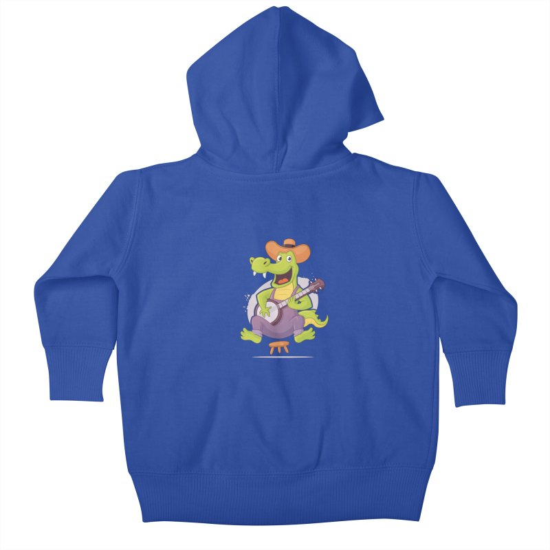 Bluegrass Alligator Kids Baby Zip-Up Hoody by zoljo's Artist Shop