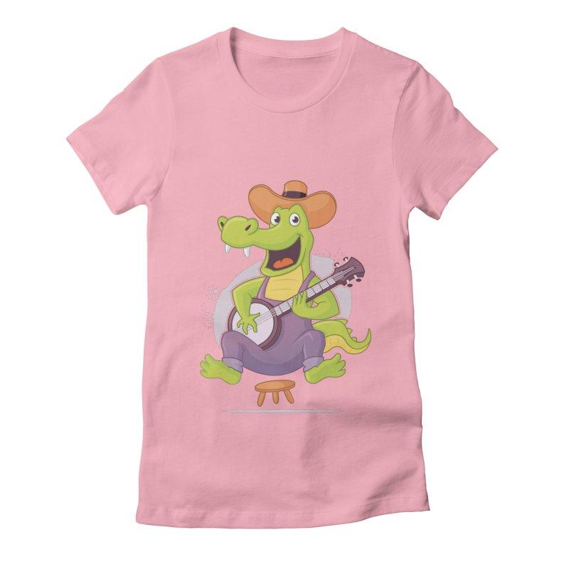 Bluegrass Alligator Women's Fitted T-Shirt by zoljo's Artist Shop