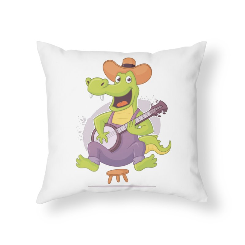 Bluegrass Alligator Home Throw Pillow by zoljo's Artist Shop