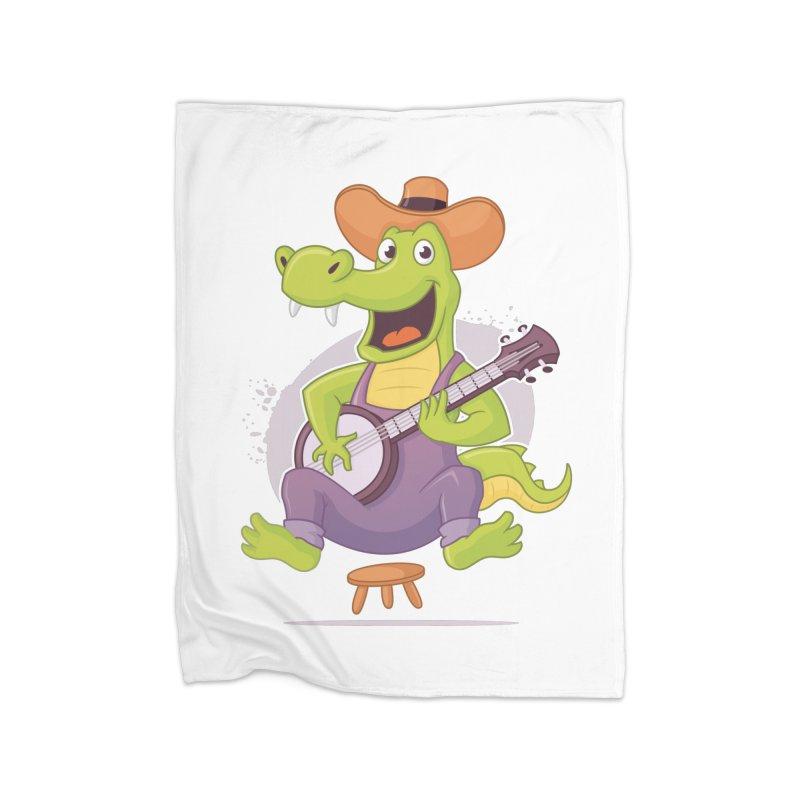Bluegrass Alligator Home Fleece Blanket Blanket by zoljo's Artist Shop