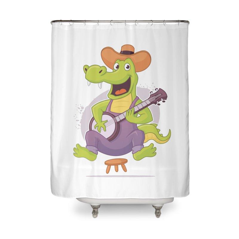 Bluegrass Alligator Home Shower Curtain by zoljo's Artist Shop