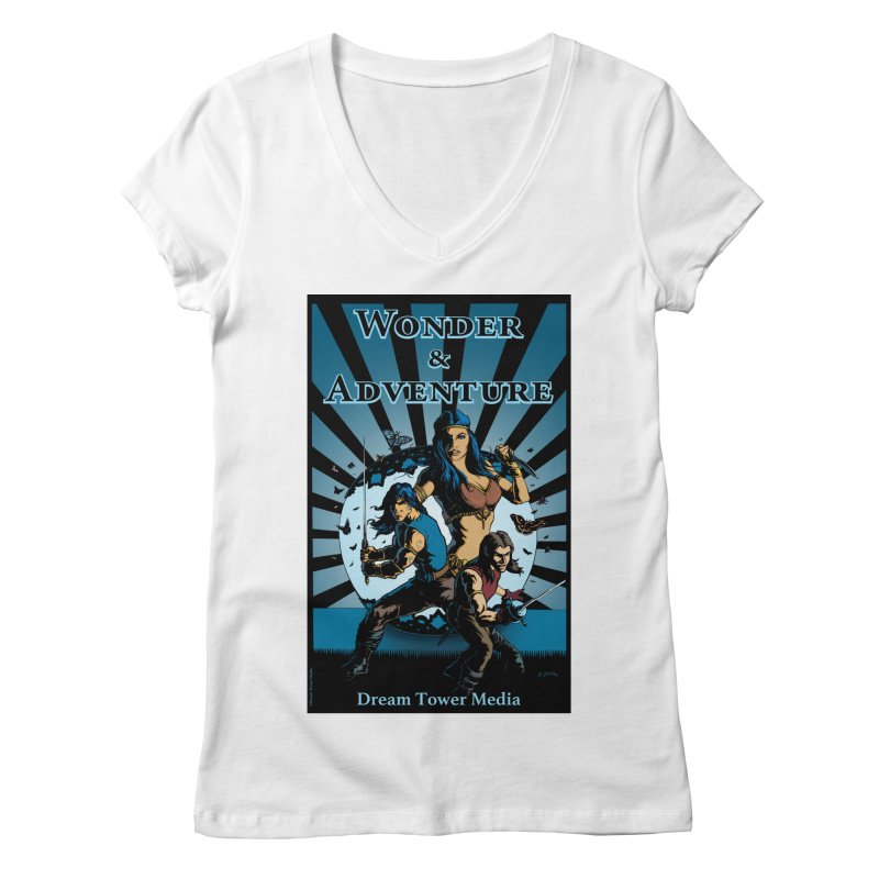 Dream Tower Media Wonder & Adventure T-Shirt Women's V-Neck by ZoltanArt