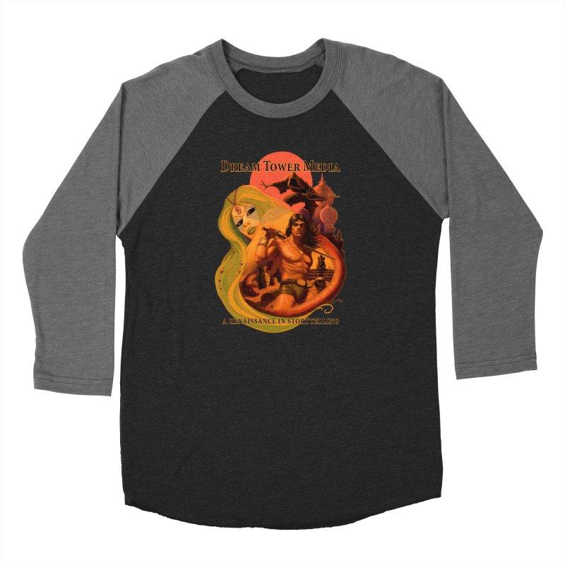 Dream Tower Media Fantasy Adventure Poster Men's Baseball Triblend Longsleeve T-Shirt by ZoltanArt