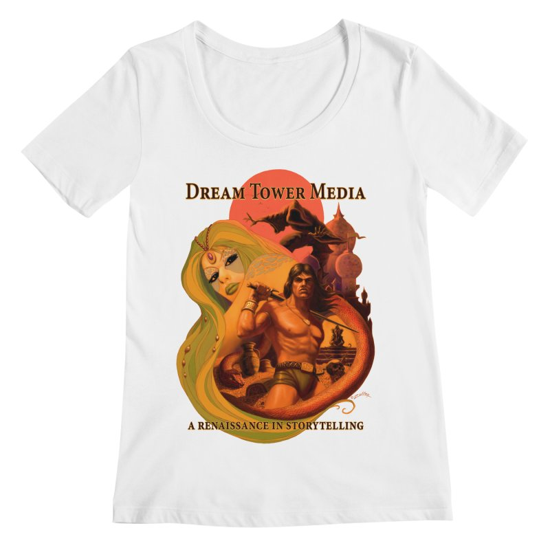 Dream Tower Media Fantasy Adventure Poster Women's Regular Scoop Neck by ZoltanArt