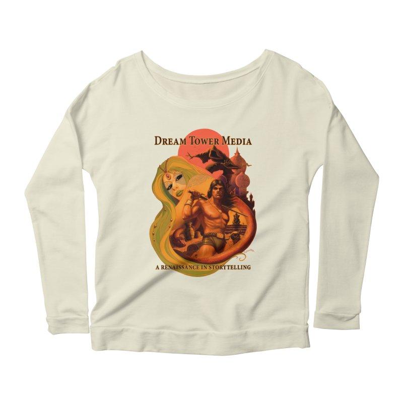 Dream Tower Media Fantasy Adventure Poster Women's Scoop Neck Longsleeve T-Shirt by ZoltanArt
