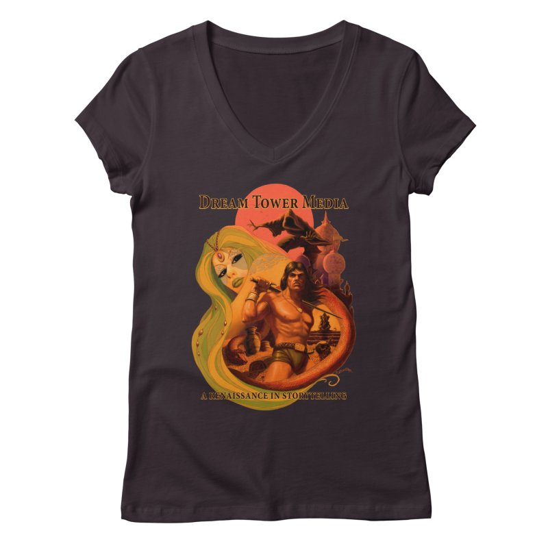 Dream Tower Media Fantasy Adventure Poster Women's Regular V-Neck by ZoltanArt