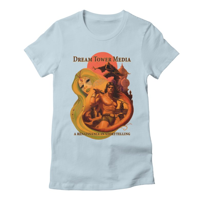 Dream Tower Media Fantasy Adventure Poster Women's Fitted T-Shirt by ZoltanArt