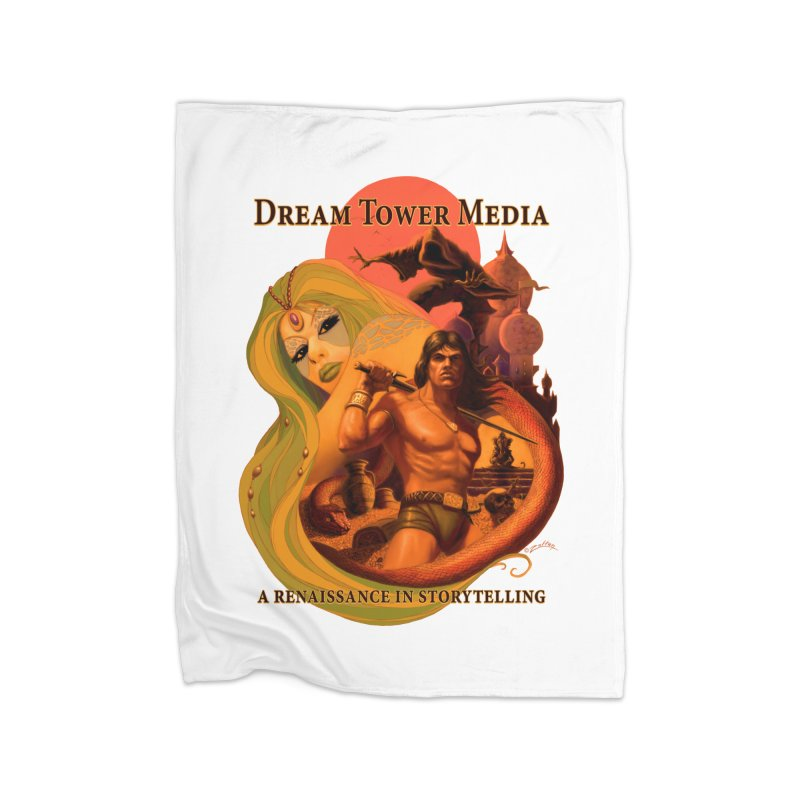 Dream Tower Media Fantasy Adventure Poster Home Fleece Blanket Blanket by ZoltanArt