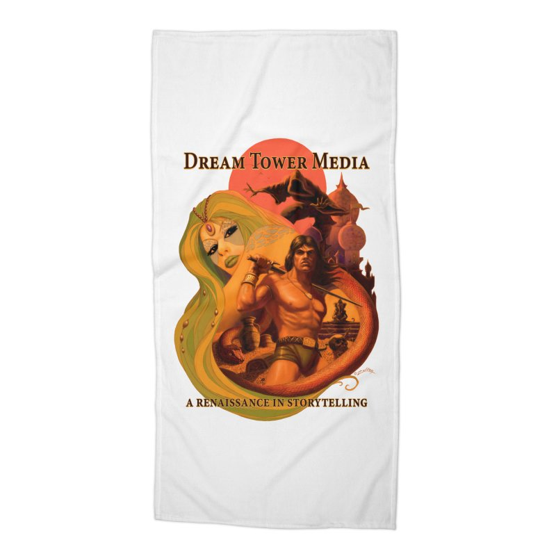 Dream Tower Media Fantasy Adventure Poster Accessories Beach Towel by ZoltanArt