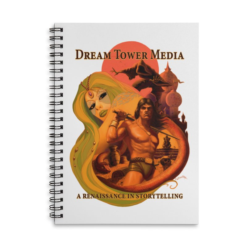 Dream Tower Media Fantasy Adventure Poster Accessories Lined Spiral Notebook by ZoltanArt