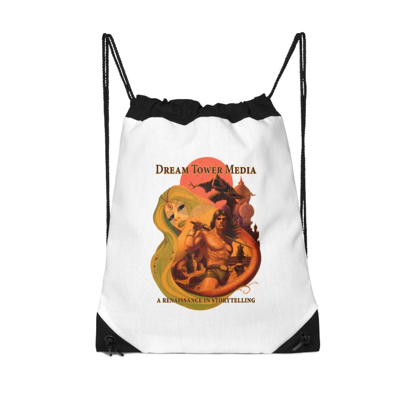 Dream Tower Media Fantasy Adventure Poster Accessories Drawstring Bag Bag by ZoltanArt