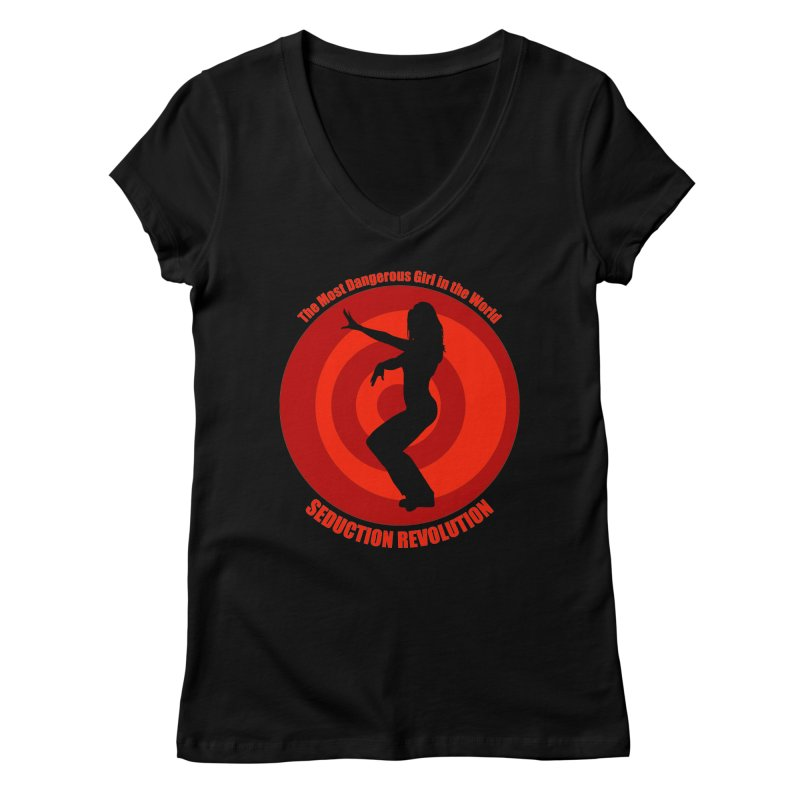 Seduction Revolution: The Most Dangerous Girl in the World (version 2) Women's V-Neck by ZoltanArt