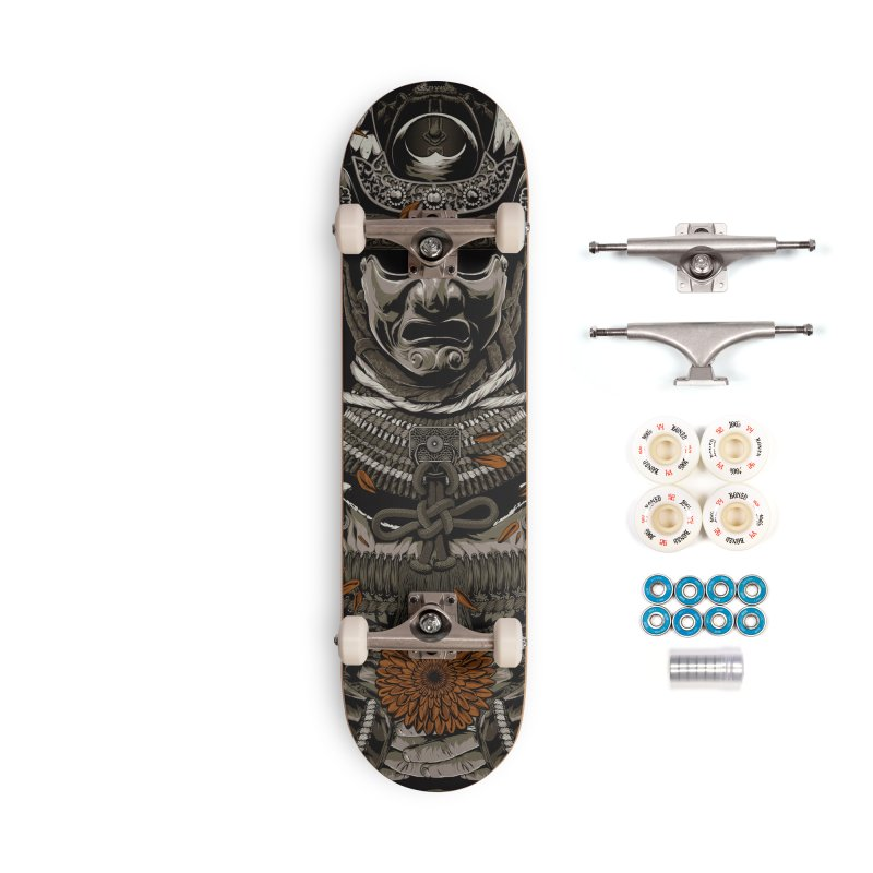 Warriors Dreams Skateboard - Samurai Armor Accessories Complete - Premium Skateboard by Anthony Petrie Print + Product Design