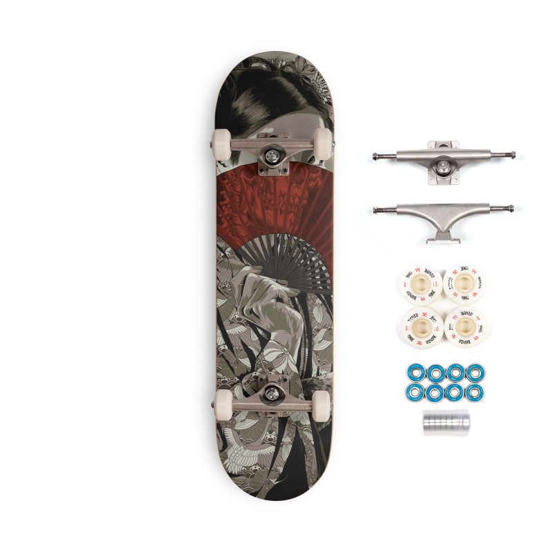 Warrior's Dreams Skateboard - Geisha Accessories Complete - Premium Skateboard by Anthony Petrie Print + Product Design