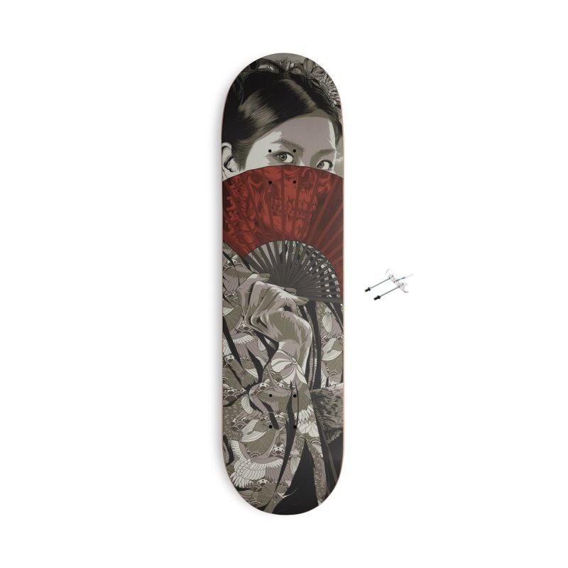 Warrior's Dreams Skateboard - Geisha Accessories With Hanging Hardware Skateboard by Anthony Petrie Print + Product Design