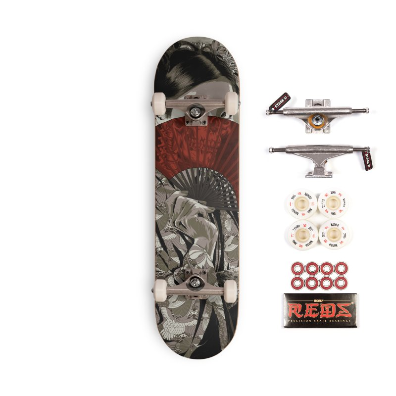 Warrior's Dreams Skateboard - Geisha Accessories Complete - Pro Skateboard by Anthony Petrie Print + Product Design