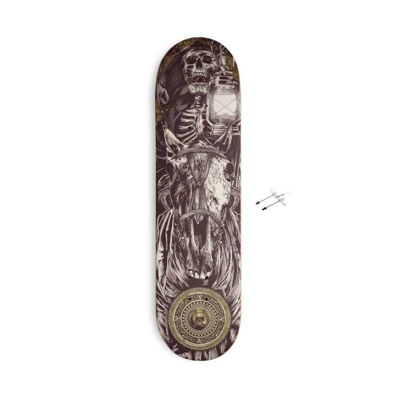 Warrior's Dreams Skateboard - Four Horsemen - Death Accessories With Hanging Hardware Skateboard by Anthony Petrie Print + Product Design