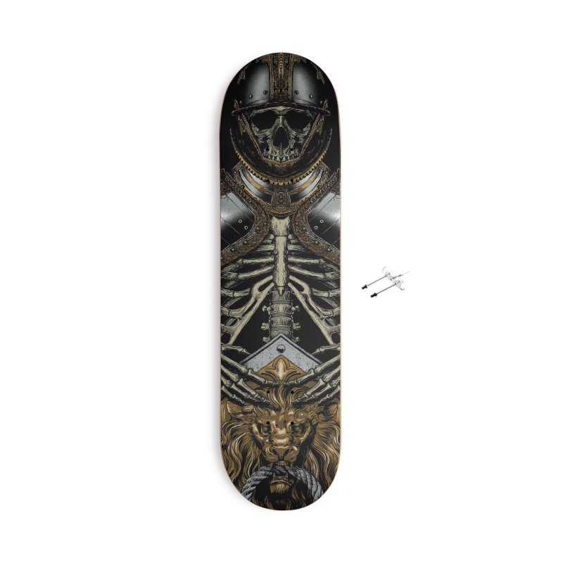 Warrior's Dreams - Skull Knight Accessories With Hanging Hardware Skateboard by Anthony Petrie Print + Product Design