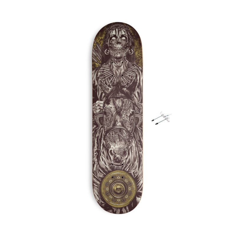 Warrior's Dreams - Four Horsemen Pestilence Accessories With Hanging Hardware Skateboard by Anthony Petrie Print + Product Design