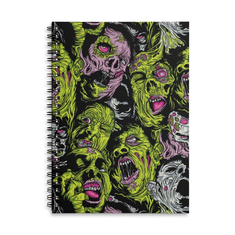 Fight of the Living Dead (Pattern) Accessories Lined Spiral Notebook by Anthony Petrie Print + Product Design
