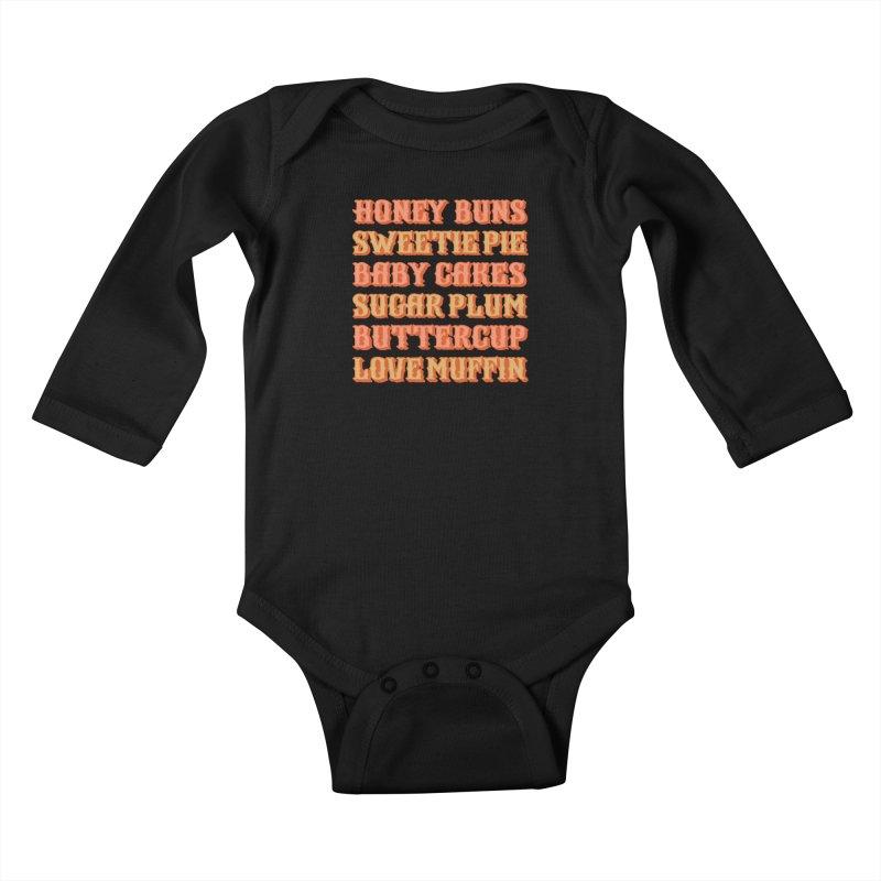 HONEY BUNS SWEETIE PIE Kids Baby Longsleeve Bodysuit by Anthony Petrie Print + Product Design