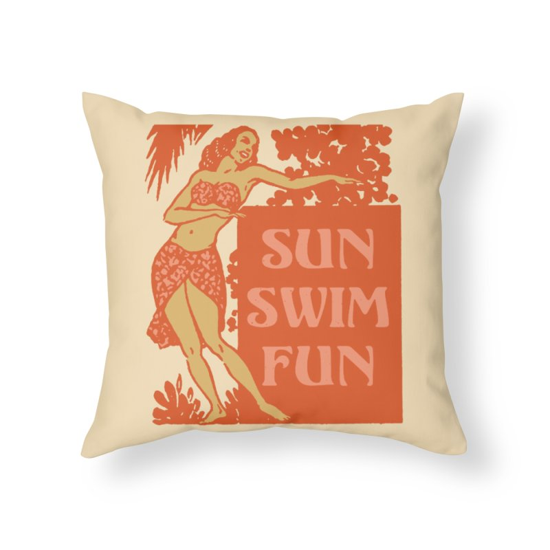 SUN SWIM FUN Home Throw Pillow by Anthony Petrie Print + Product Design