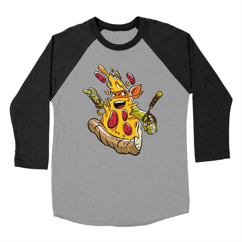 Pizzalangelo Men's Baseball Triblend Longsleeve T-Shirt by Anthony Petrie Print + Product Design
