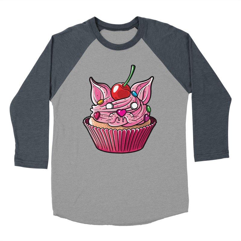 Cupcat Women's Baseball Triblend Longsleeve T-Shirt by Anthony Petrie Print + Product Design