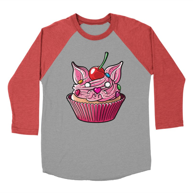 Cupcat Men's Baseball Triblend Longsleeve T-Shirt by Anthony Petrie Print + Product Design