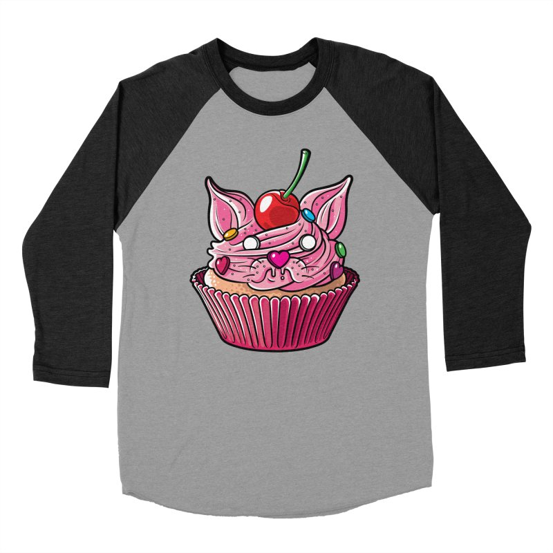 Cupcat Men's Baseball Triblend T-Shirt by Anthony Petrie Print + Product Design