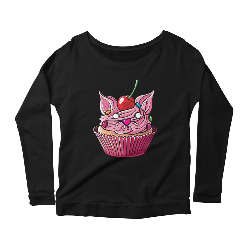 Cupcat Women's Scoop Neck Longsleeve T-Shirt by Anthony Petrie Print + Product Design