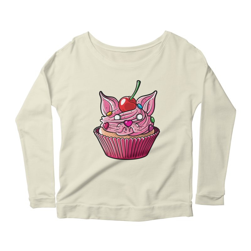 Cupcat Women's Longsleeve Scoopneck  by Anthony Petrie Print + Product Design