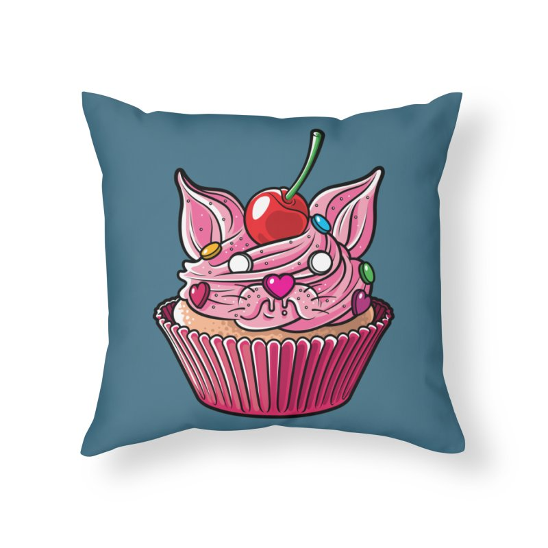 Cupcat Home Throw Pillow by Anthony Petrie