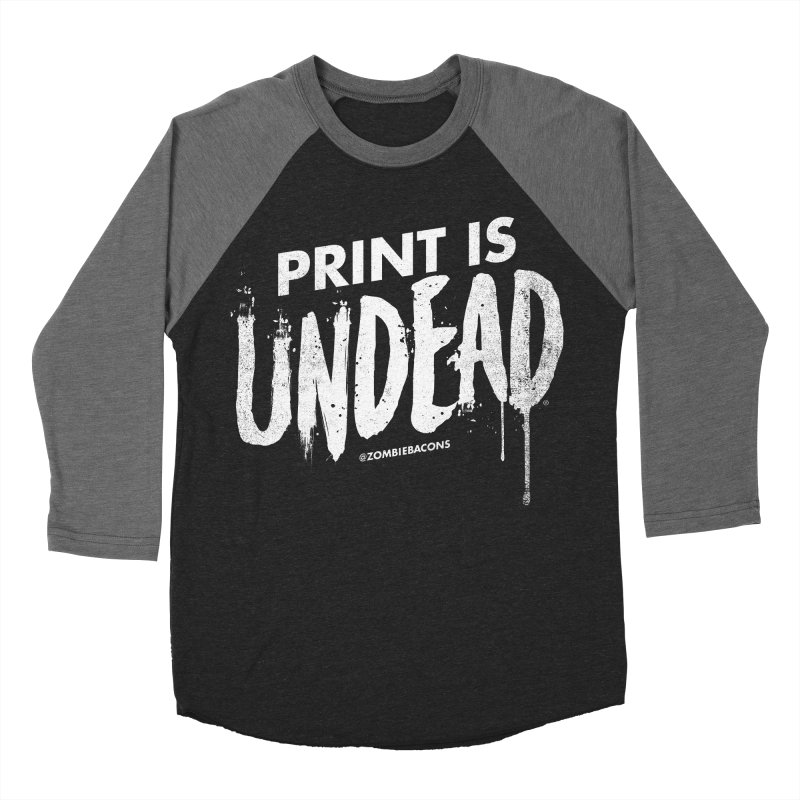 PRINT IS UNDEAD Men's Baseball Triblend Longsleeve T-Shirt by Anthony Petrie Print + Product Design