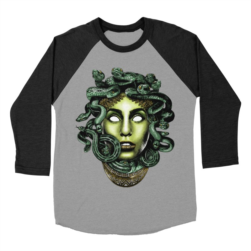 Medusa Men's Baseball Triblend T-Shirt by Anthony Petrie Print + Product Design
