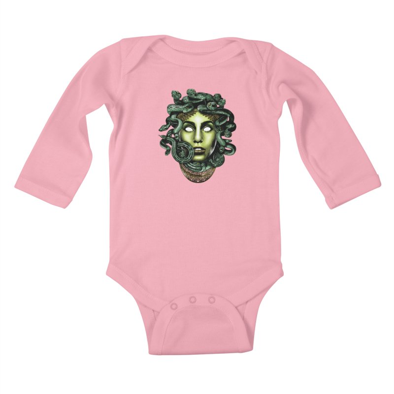 Medusa Kids Baby Longsleeve Bodysuit by Anthony Petrie Print + Product Design