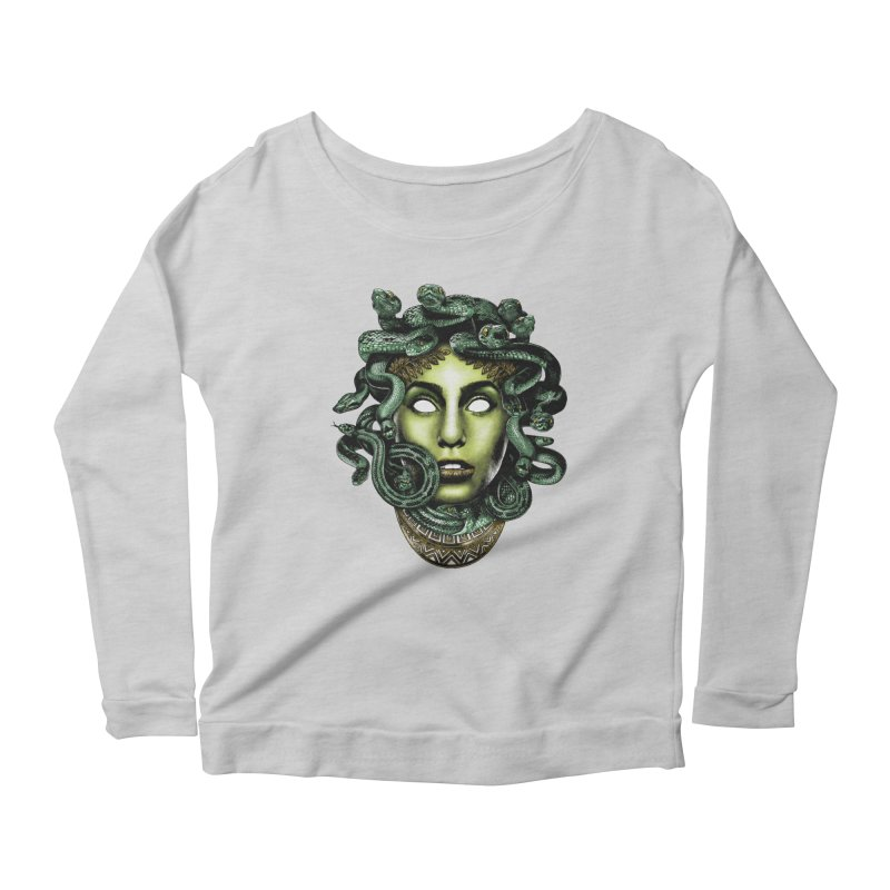 Medusa Women's Scoop Neck Longsleeve T-Shirt by Anthony Petrie Print + Product Design