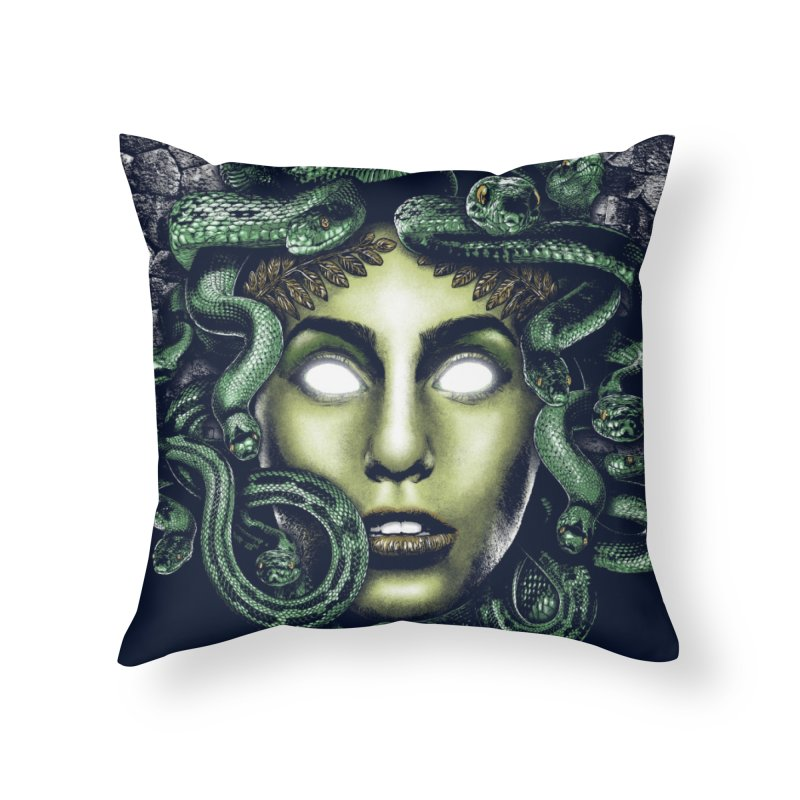 Medusa Home Throw Pillow by Anthony Petrie Print + Product Design