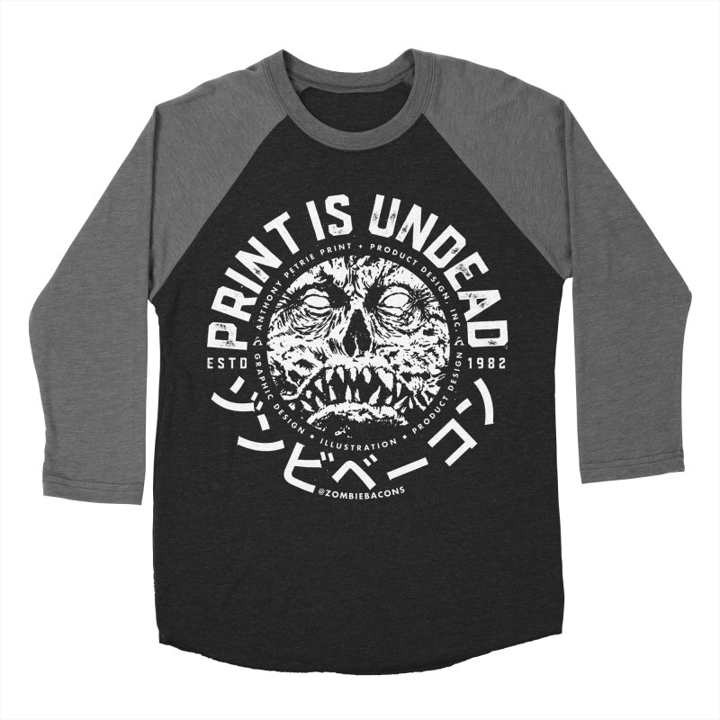 PRINT IS UNDEAD, INC. Women's Baseball Triblend Longsleeve T-Shirt by Anthony Petrie Print + Product Design