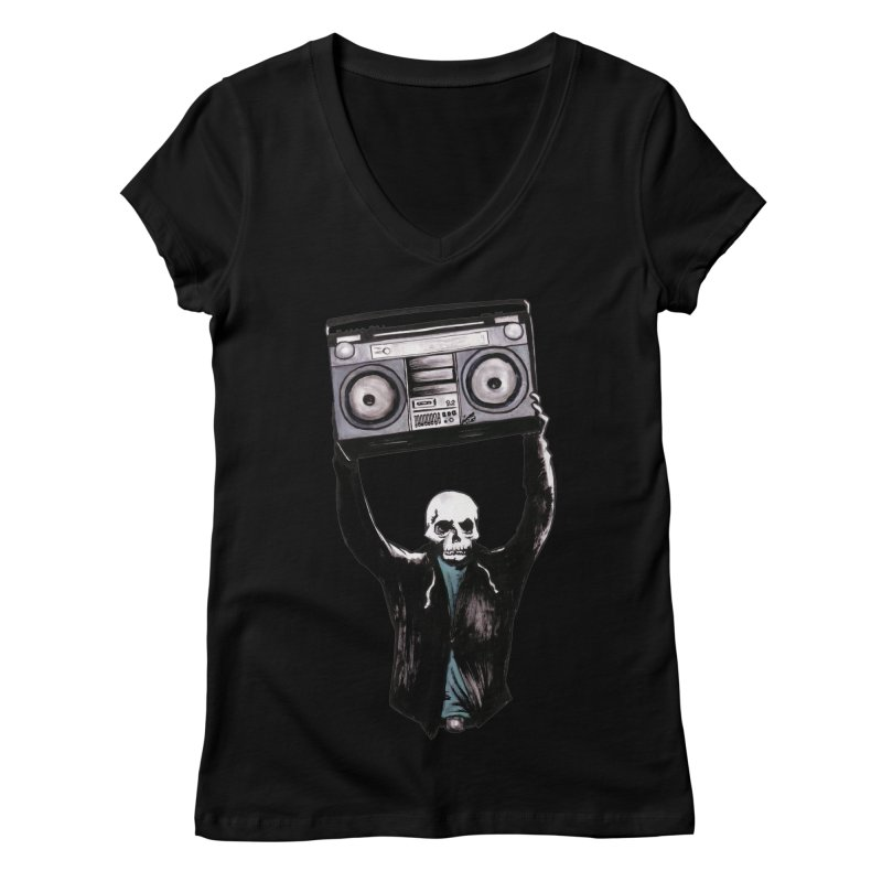 Boombox Women's V-Neck by Zombie Rust's Artist Shop