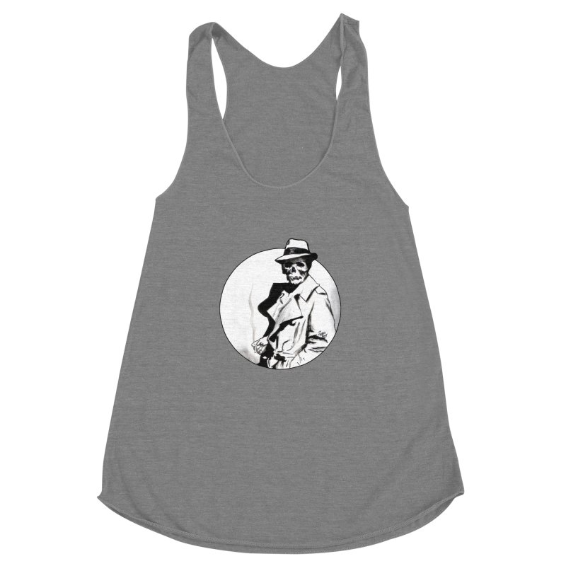 Skeleton Expatriate Women's Racerback Triblend Tank by Zombie Rust's Artist Shop