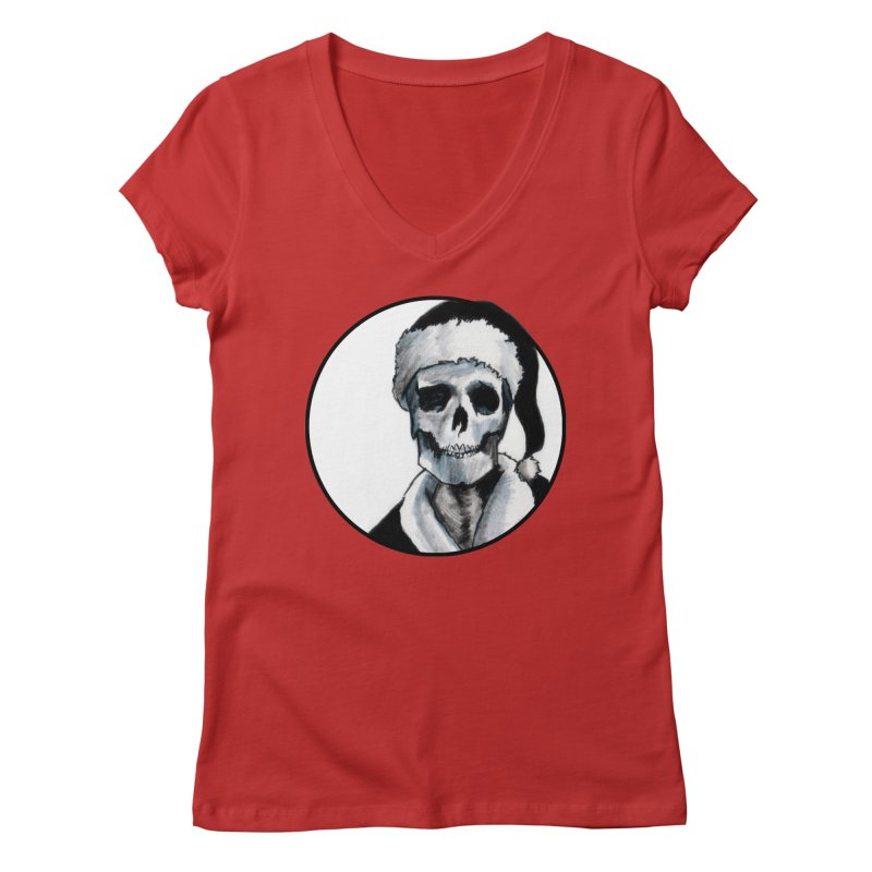 Blackest Ever Black Xmas Women's Regular V-Neck by Zombie Rust's Artist Shop