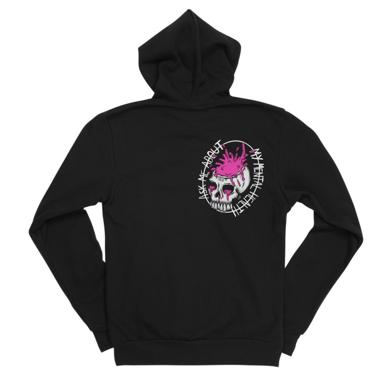 Ask me about my mental health Men's Sponge Fleece Zip-Up Hoody by ZOMBIETEETH